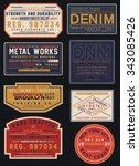 vintage denim label designs | Shutterstock .eps vector #343085426