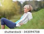 senior woman in fitness outfit...   Shutterstock . vector #343094708