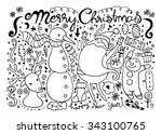 hand drawn christmas characters ... | Shutterstock .eps vector #343100765