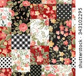 seamless patchwork pattern with ... | Shutterstock .eps vector #343102295