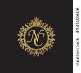 nc initial luxury ornament... | Shutterstock .eps vector #343103606