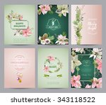 set of christmas brochures and... | Shutterstock .eps vector #343118522