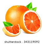 ripe grapefruits with leaves.... | Shutterstock .eps vector #343119092