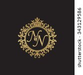 nn initial luxury ornament... | Shutterstock .eps vector #343129586
