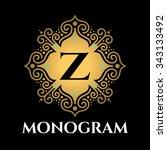 vintage monogram frame template | Shutterstock .eps vector #343133492