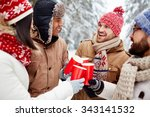 joyful friends with hot drinks... | Shutterstock . vector #343141532