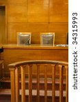 Classical court room with 2 chairs, wooden bench and interior. - stock photo