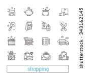 shopping  commerce  retail thin ... | Shutterstock .eps vector #343162145