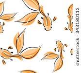 goldfish. vector seamless... | Shutterstock .eps vector #343180112