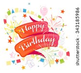 with jubilee  a festive ribbon... | Shutterstock .eps vector #343185986