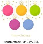 christmas baubles background.... | Shutterstock .eps vector #343192616