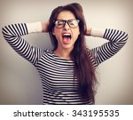 angry young business woman in... | Shutterstock . vector #343195535