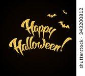 happy halloween gold glitter... | Shutterstock .eps vector #343200812
