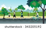 people running in the park with ... | Shutterstock .eps vector #343205192