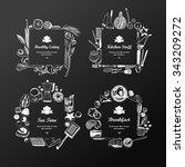 set of frames  doodle style .... | Shutterstock .eps vector #343209272