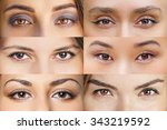 Set of 6 Real Different Brown Open Eyes