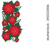 christmas decoration poinsettia ... | Shutterstock .eps vector #343223306