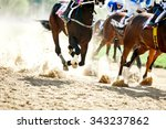Stock photo horse racing details of galloping horses legs on hippodrome track 343237862