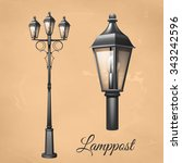 retro vintage lamp post set...