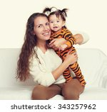 woman with child girl portrait... | Shutterstock . vector #343257962