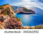 navagio beach with shipwreck... | Shutterstock . vector #343262552