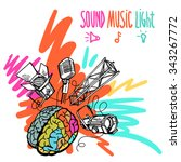 sound  music and light vector... | Shutterstock .eps vector #343267772