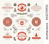 merry christmas and happy new... | Shutterstock .eps vector #343270952
