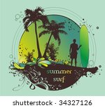 surfer on the beach  vector... | Shutterstock .eps vector #34327126
