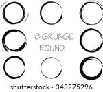 set of vector grunge circle... | Shutterstock .eps vector #343275296