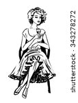Young Woman In Beautiful Dress...