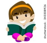 illustration of a kid reading a ...