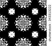 black and white vector seamless ... | Shutterstock .eps vector #343313222
