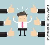 businessman and many hands with ... | Shutterstock .eps vector #343320245