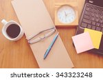 note book and laptop on wooden... | Shutterstock . vector #343323248