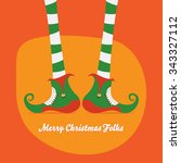 merry christmas with elf's legs ... | Shutterstock .eps vector #343327112