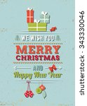 christmas greeting card with... | Shutterstock .eps vector #343330046