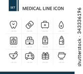 medical line icon set | Shutterstock .eps vector #343336196