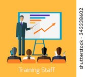 training staff briefing... | Shutterstock .eps vector #343338602