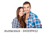 happy cute couple in love... | Shutterstock . vector #343339412