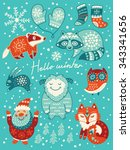 winter set with santa  yeti ... | Shutterstock .eps vector #343341656