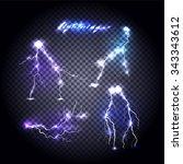set of bright lightning design. ... | Shutterstock .eps vector #343343612