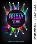 night disco party poster with... | Shutterstock .eps vector #343349666