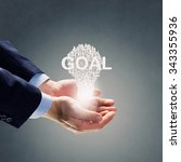 businessman holding in hands... | Shutterstock . vector #343355936