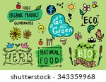 hand drawn eco and nature... | Shutterstock .eps vector #343359968