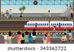 train station busy illustration ...