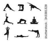 silhouettes of pregnant women... | Shutterstock .eps vector #343381328