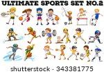 different kind of sports ... | Shutterstock .eps vector #343381775