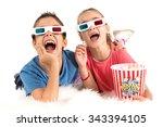 children's couple with 3d... | Shutterstock . vector #343394105