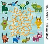 cute cartoon monster labyrinth ... | Shutterstock . vector #343394708