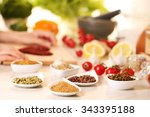 variety of spices in ceramic... | Shutterstock . vector #343395188